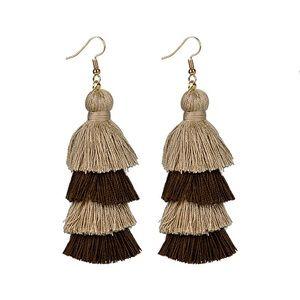 🆕Coffee 4 Layer Fiesta Tassel Earrings